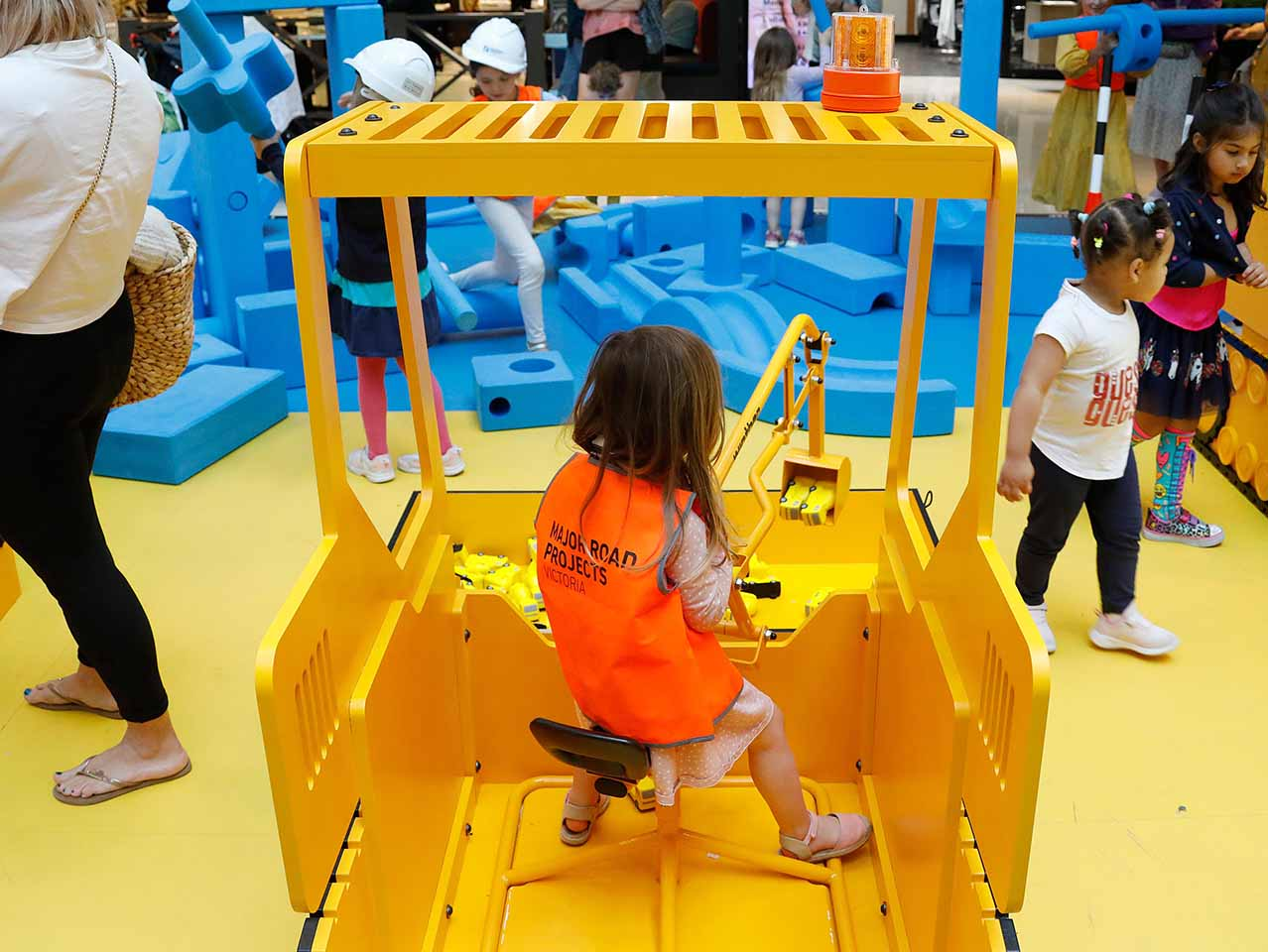 Families enjoying the construction activities at the Southland event