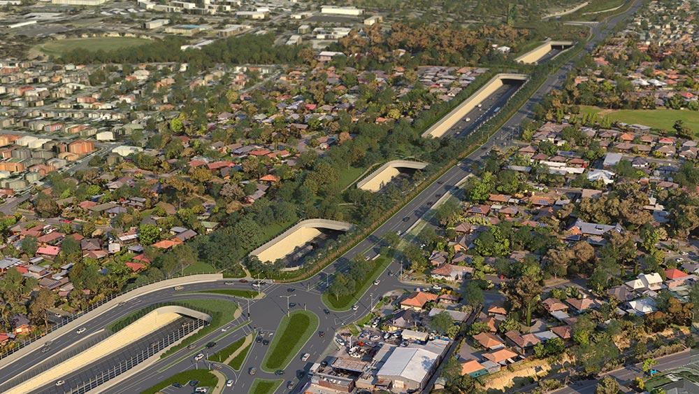 Aerial render of green bridges