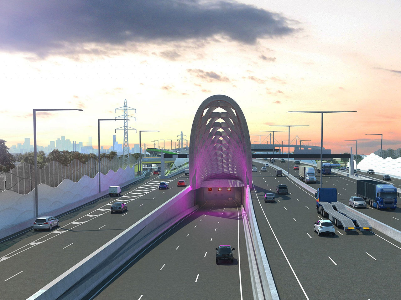 Artist impression of the southern inbound tunnel.