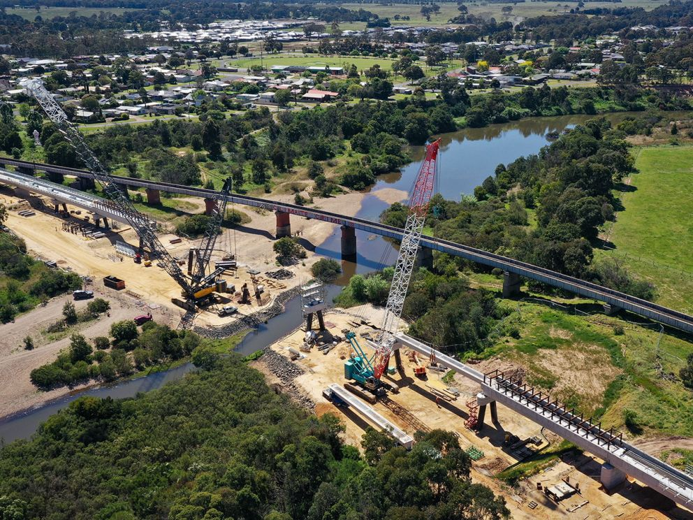Aerial view of progress of the bridge nearing completion