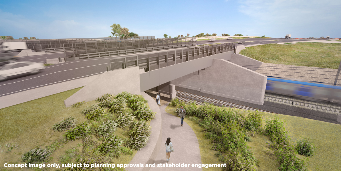 Concept image of the walking and cycling path at Calder Freeway and Fullarton Road, Airport West