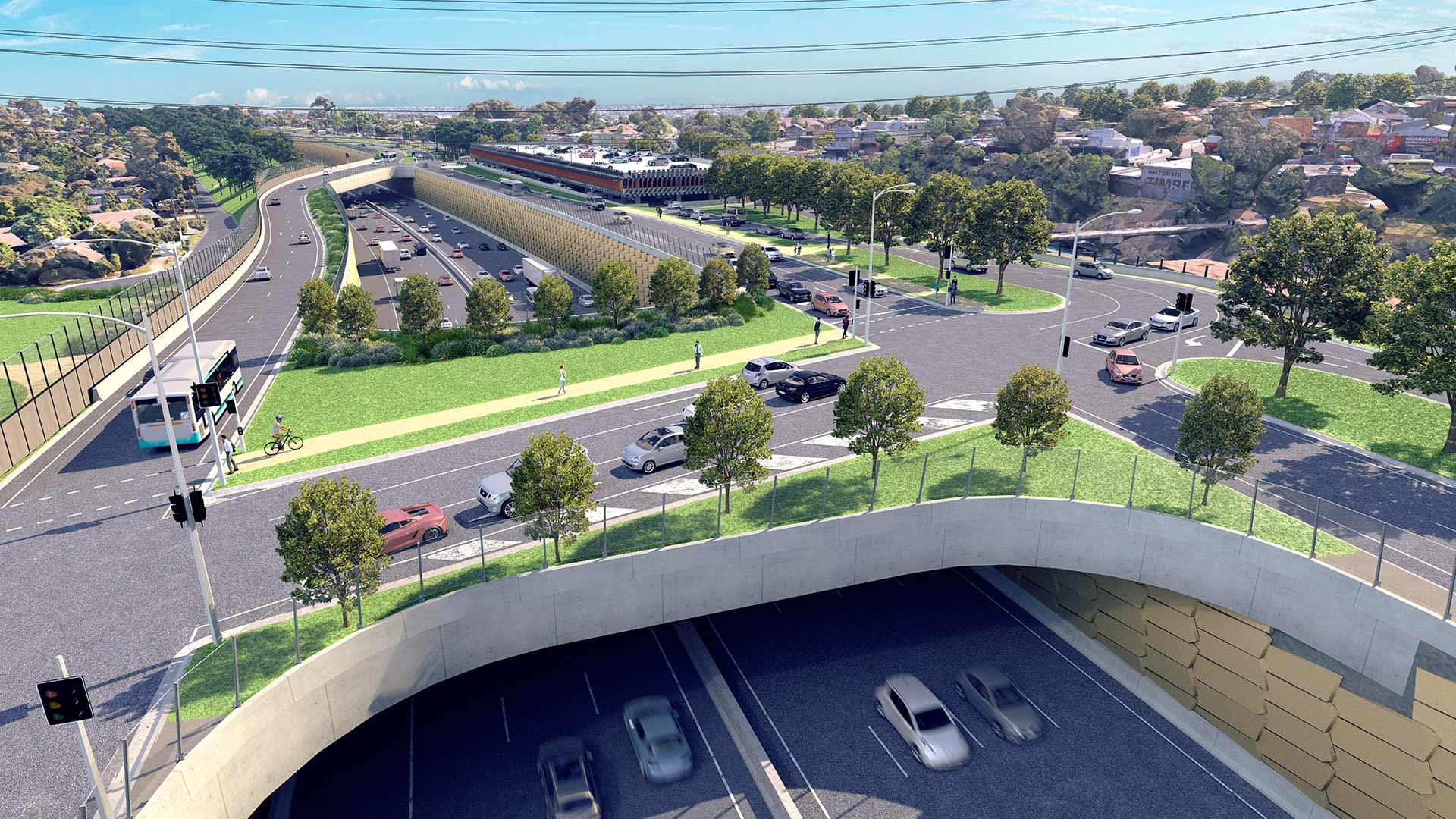 Artist impression of Elder Street green bridge alternate design.