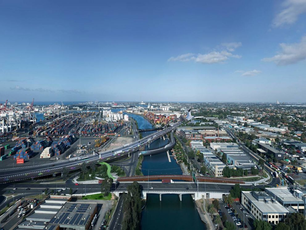 Artist impression of new city connections, looking south over the Maribyrnong River