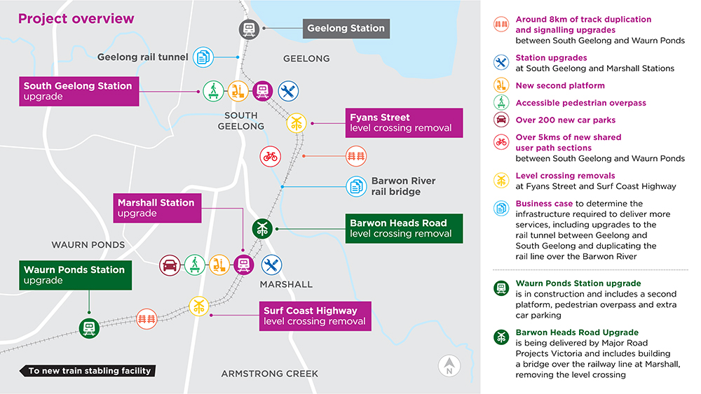 Scope map of the Geelong Line Upgrade as outlined on this page.