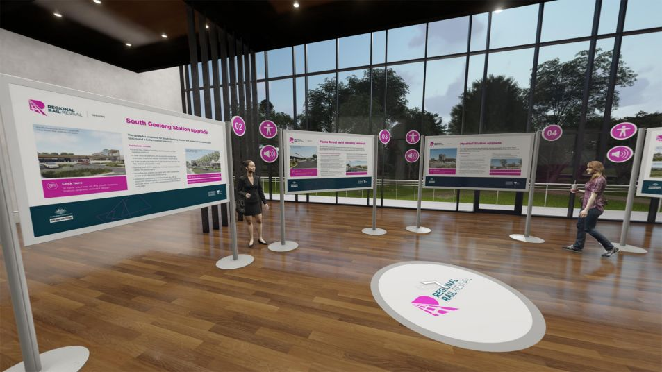 Virtual room with polished floorboards and windows with trees,  Information banners and boards with the Regional Rail Revival logo and rendered people observing.