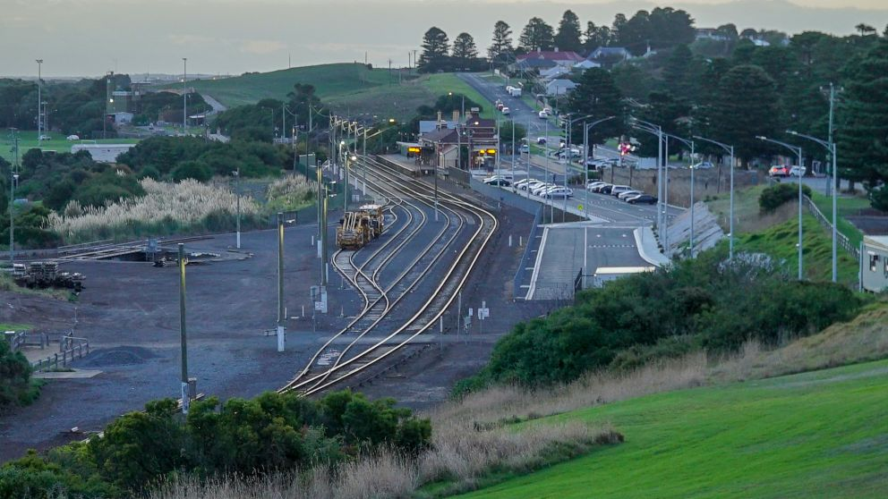 Wide view of Warrnambool station with train coming in
