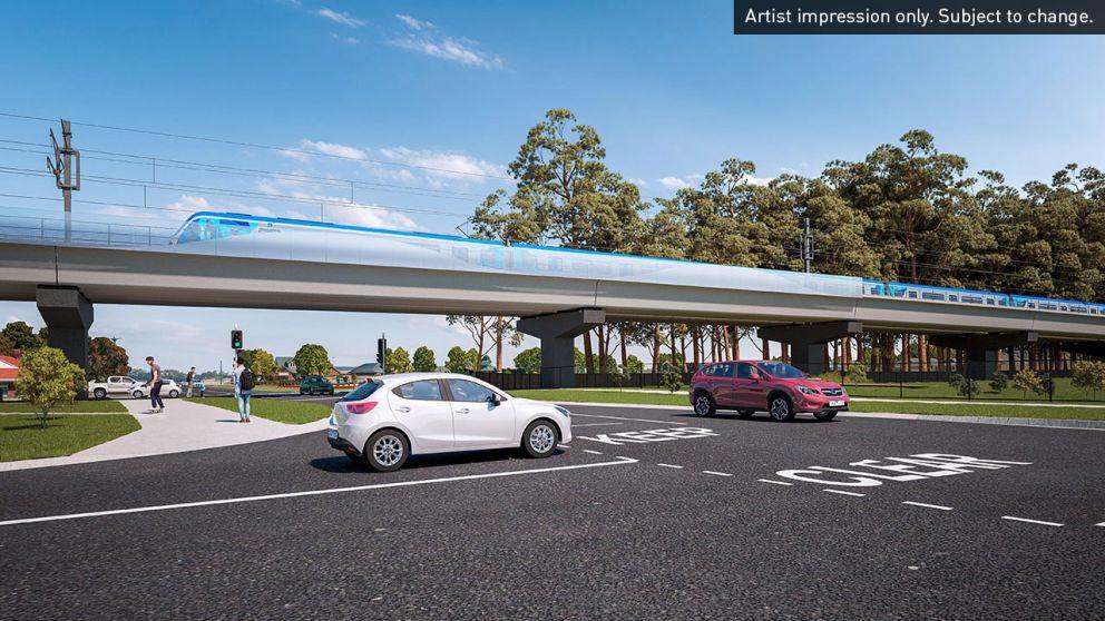 New rail bridge at McGregor Road, Pakenham. Artist impression only. Subject to change.