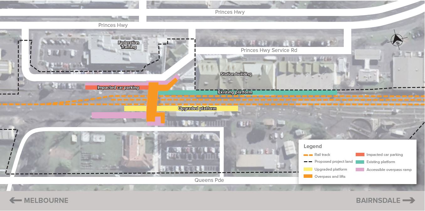 Image of map of Traralgon Station, including proposed upgraded platform