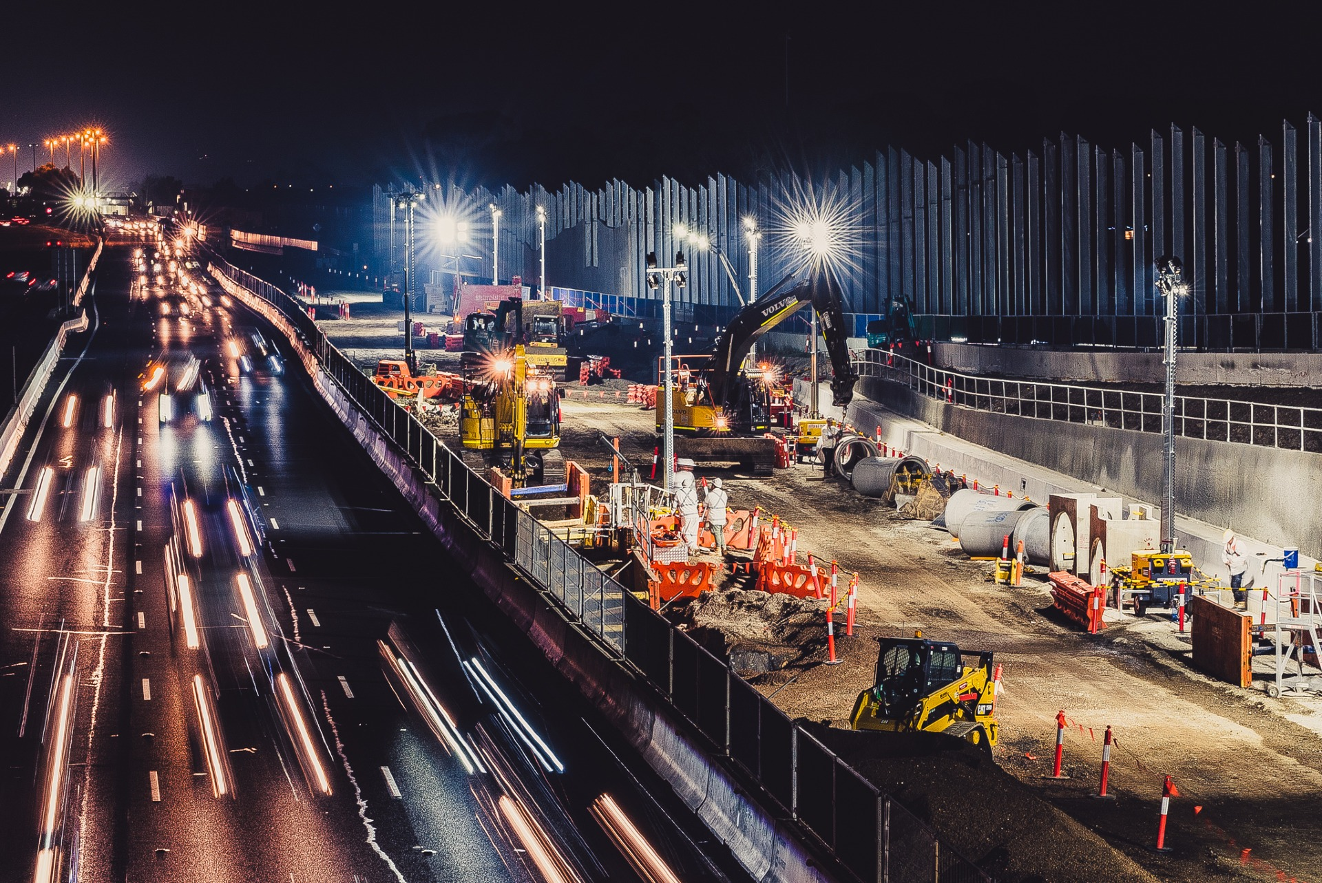 Construction at night under lights