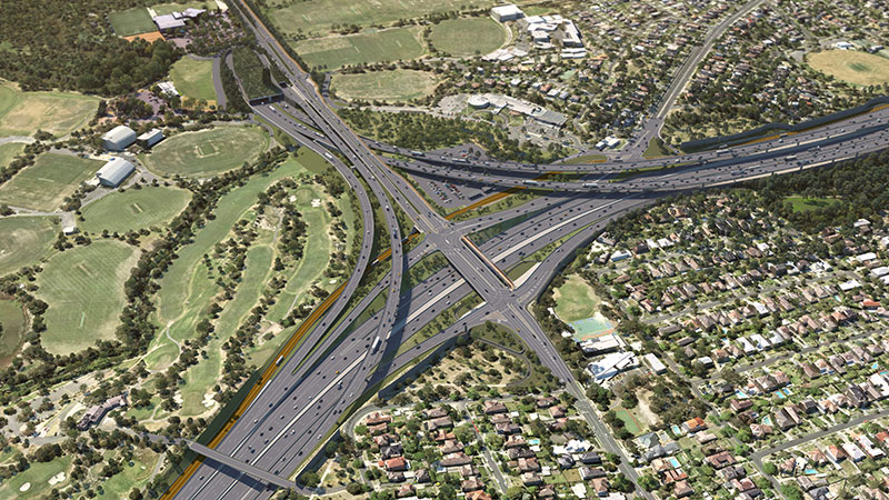 render of new interchange and tunnel portal next to Bulleen Road would link the Eastern Freeway and North East Link