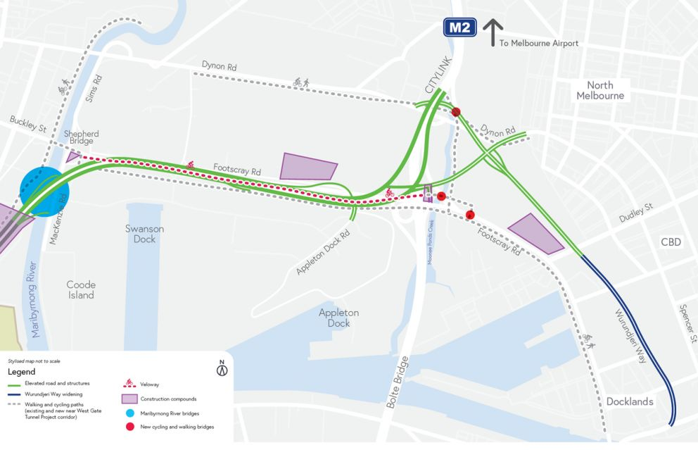 Map showing new elevated roadway, walking and cycling paths, veloway and the extension of Wurundjeri Way