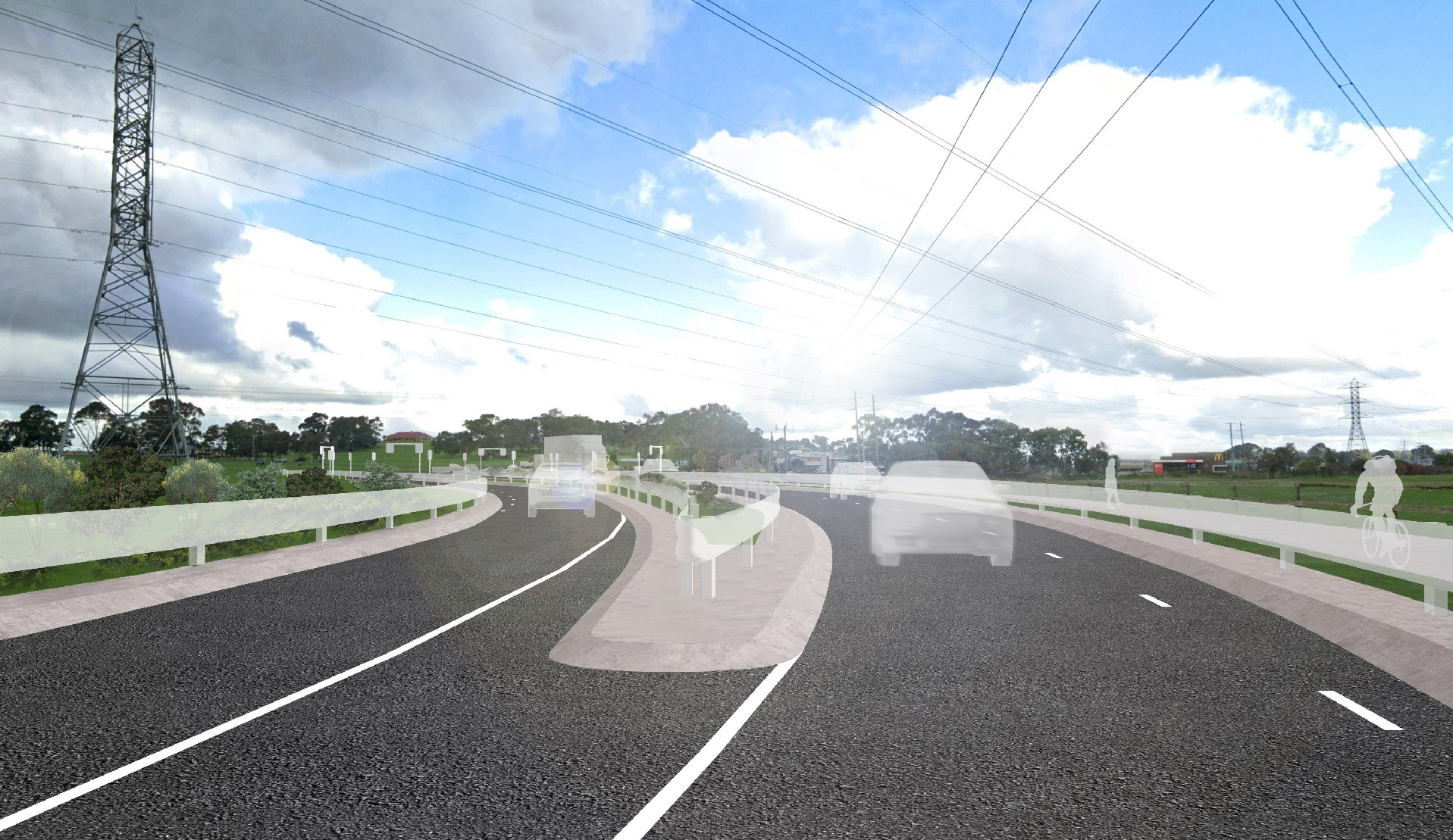 Artist impression of the Bridge Inn Road Intersection 1 year on from completion