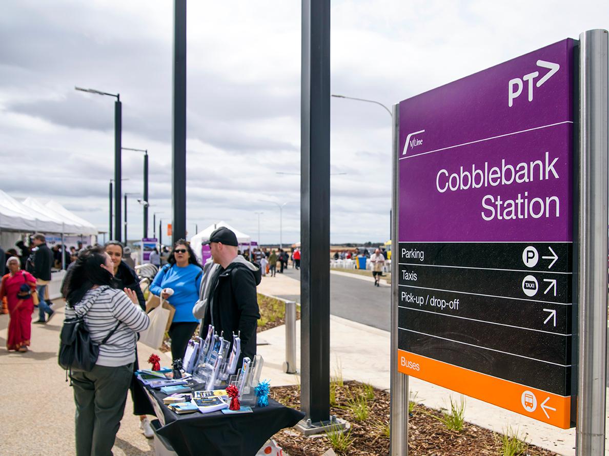 Community members at Cobblebank Station