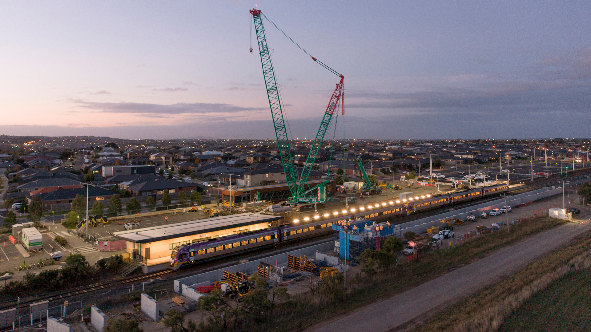 Waurn Ponds Station aerial view of crane lifting in overpass