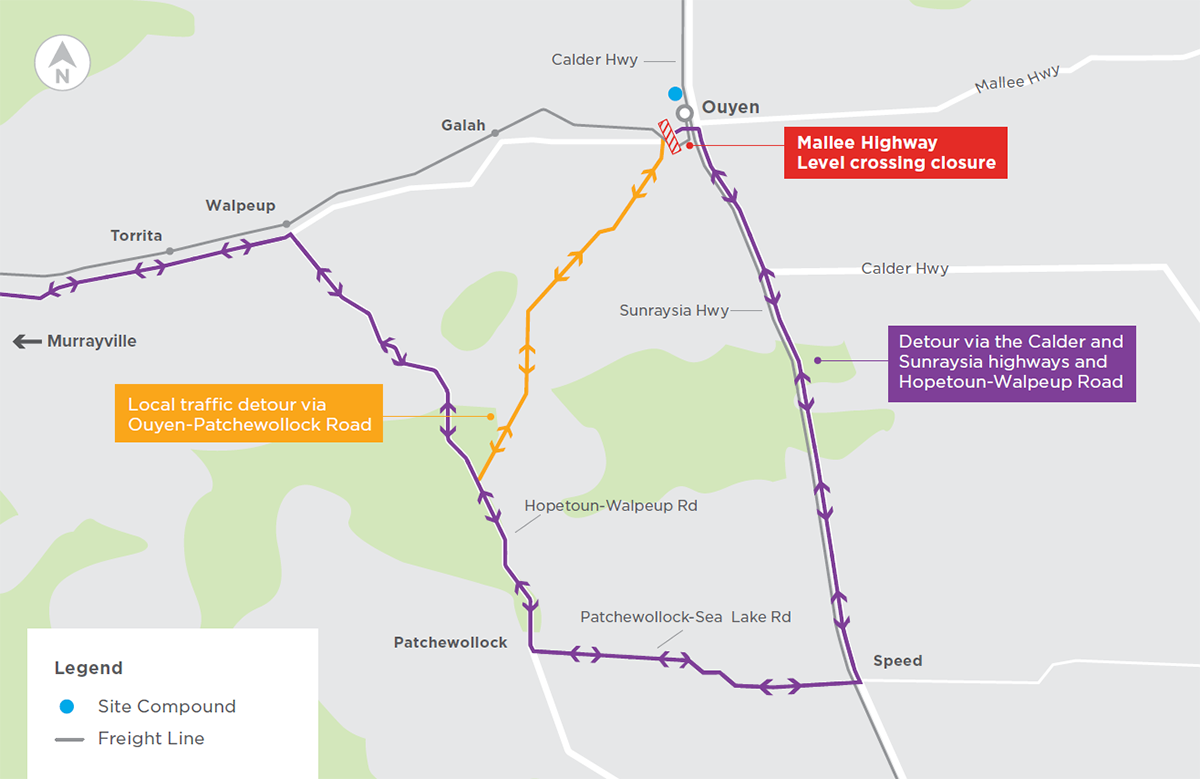 Detour map showing the Mallee Highway closed between McIntyre and Ouyen-Patchewollock roads in Ouyen to allow construction to take place. Detours for vehicles via the Calder and Sunraysia highways and Hopetoun-Walpeup Road. There will also be a detour available to local traffic via Ouyen-Patchewollock Road.