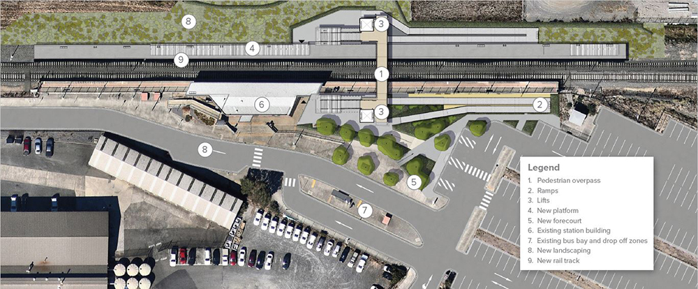 Wendouree Station forecourt concept image indicating locations of the new platform and forecourt, lifts, new rail track and landscaping and existing facilities