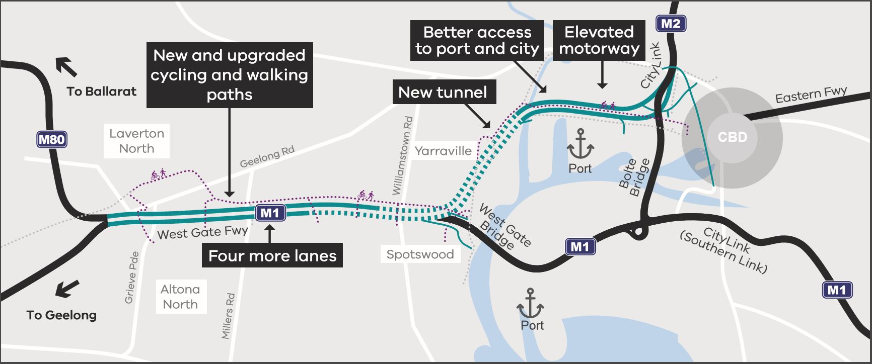 Map of West Gate Tunnel