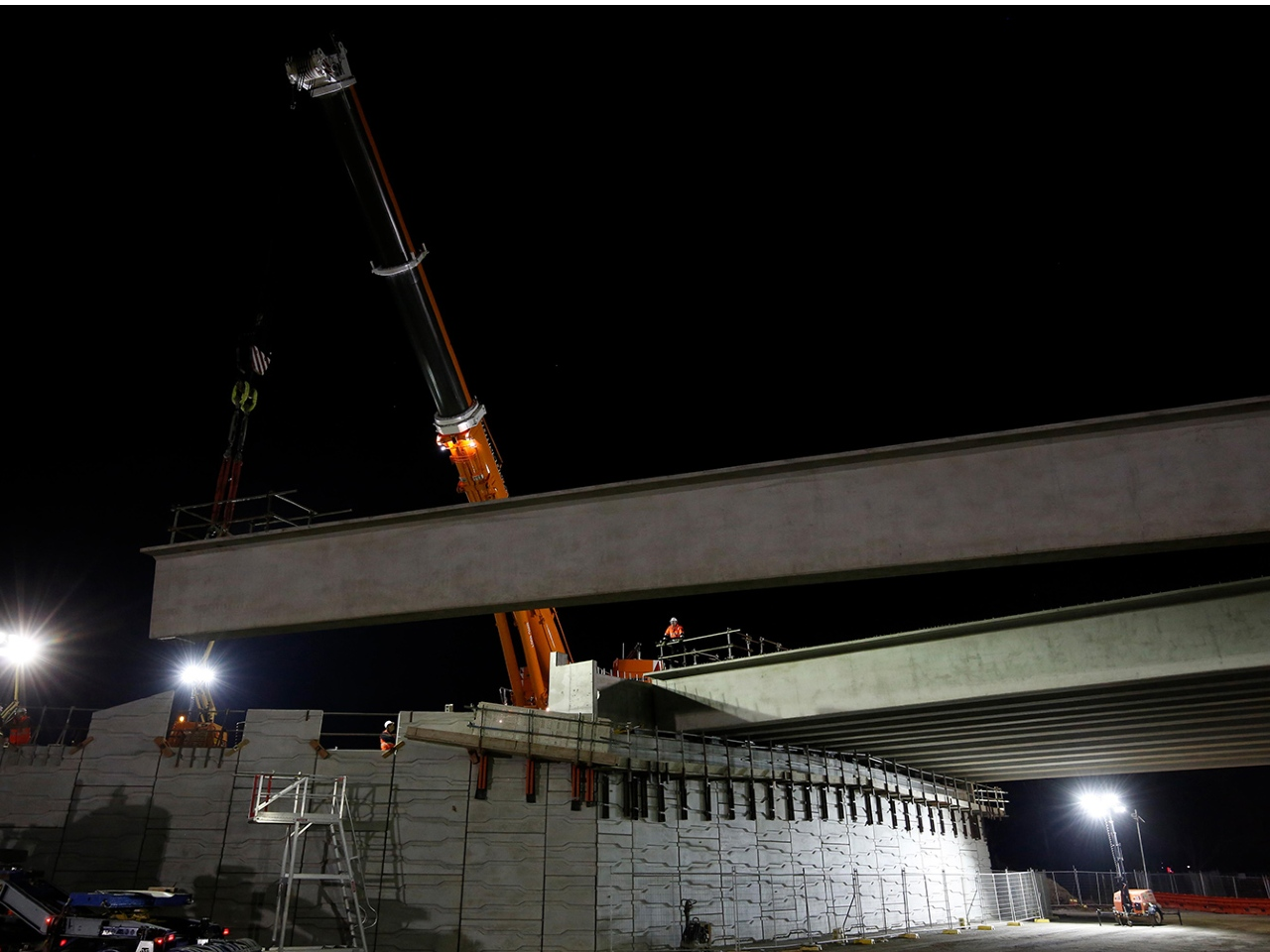 Beam being lifted in place for the Centre Dandenong Road bridge