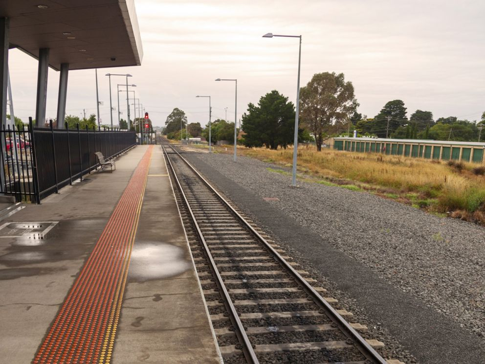 A view of the single platform at Wendouree Station and the location of the future new platform