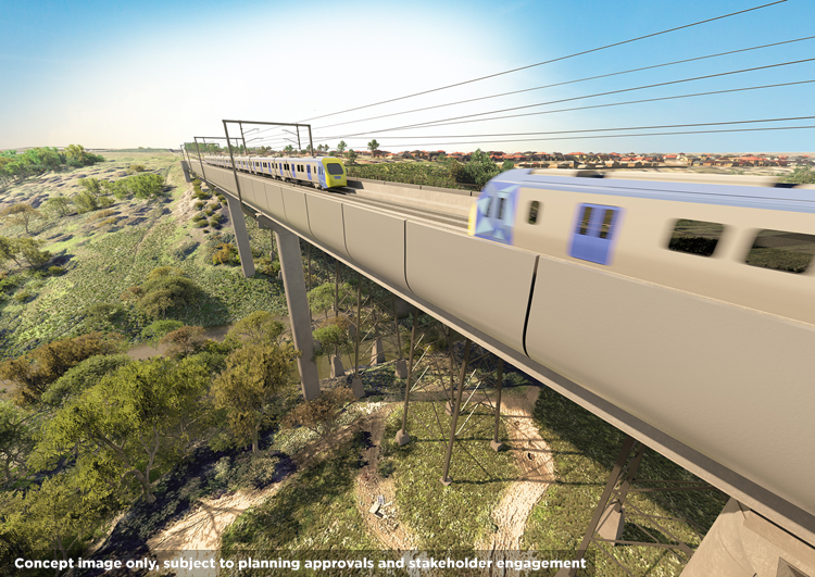Concept image of the rail bridge over the Maribyrnong River Valley