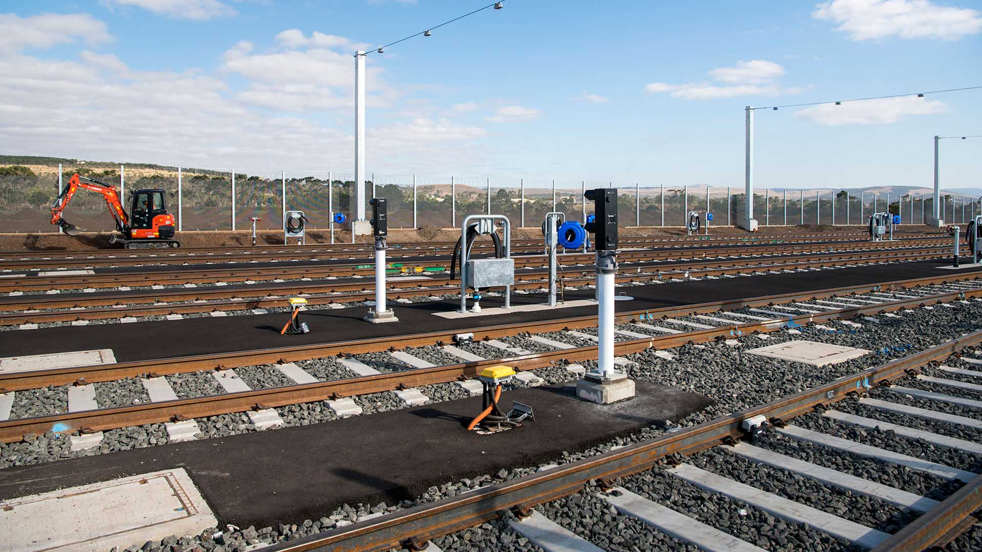 Train stabling yard with multiple tracks and signalling