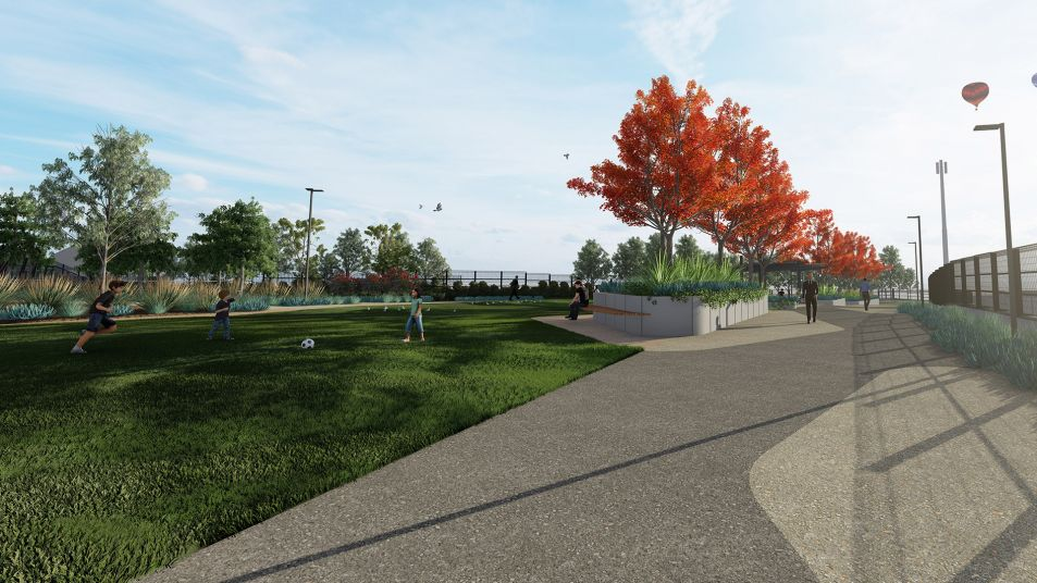 Artist impression of the new park in South Yarra