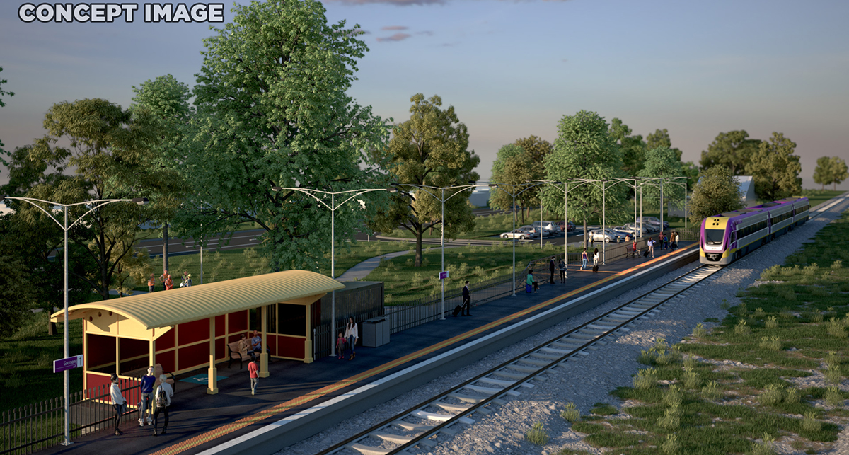 Goornong Station Render, view of platform with passengers waiting for an incoming train.
