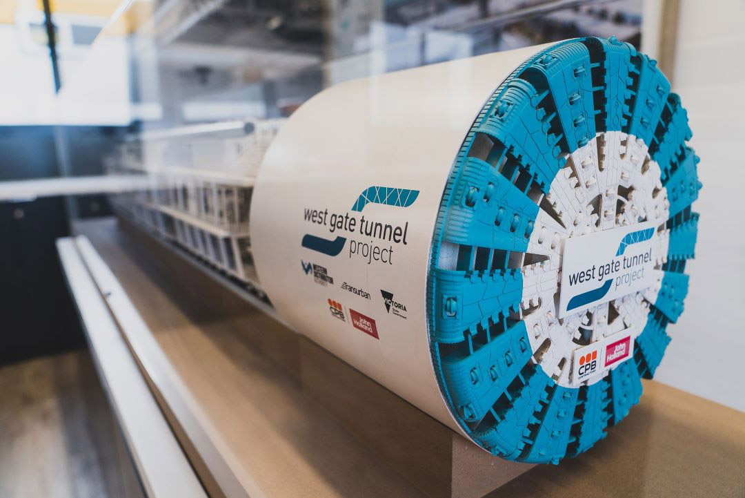 Model of a Tunnel Boring Machine at the West Gate Tunnel Project's information centre