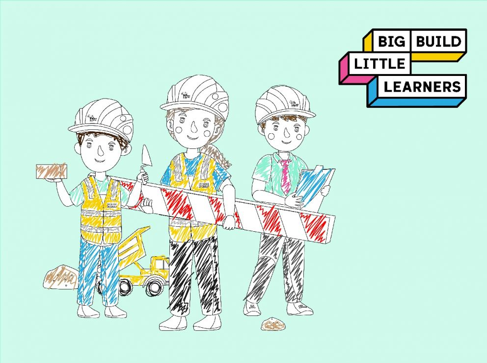 Colouring in style image of 3 kids