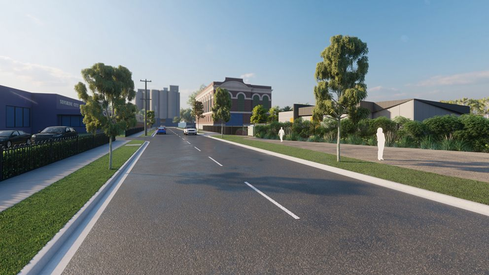 Artist impression of Talmage Street north-westerly perspective
