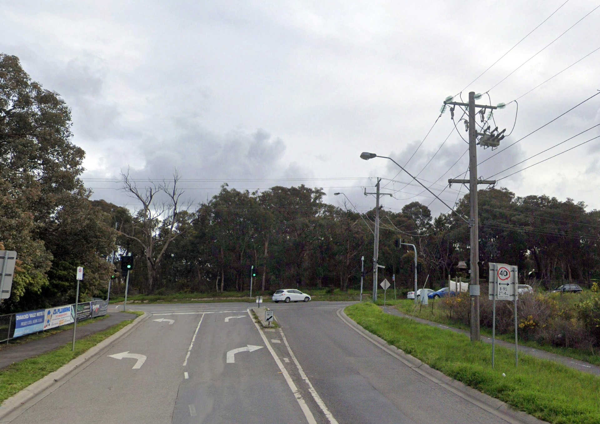 The existing Yan Yean Road and Ironbark Road intersection