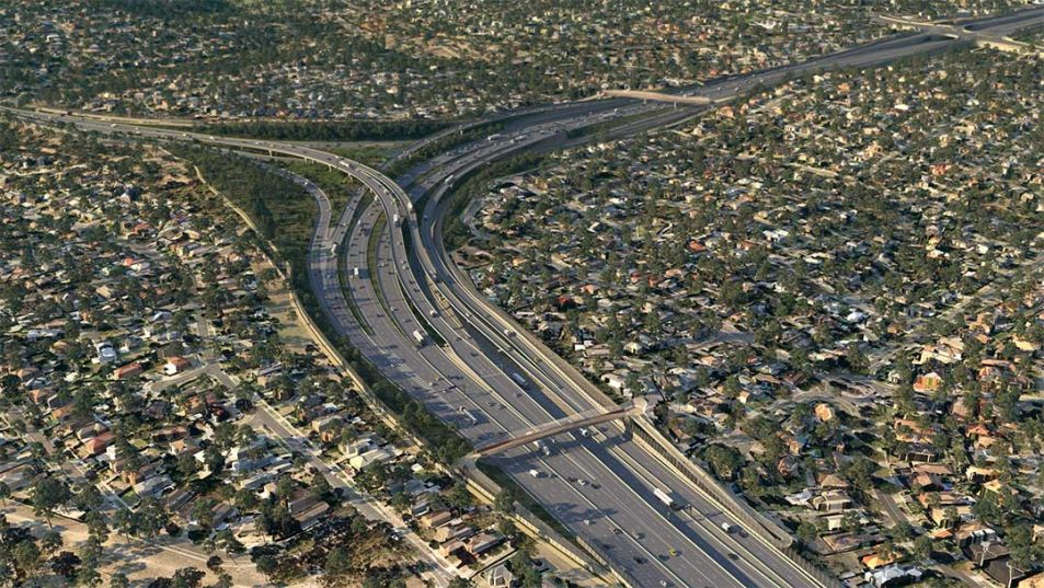 An aerial view of the M80 interchange in Greensborough.