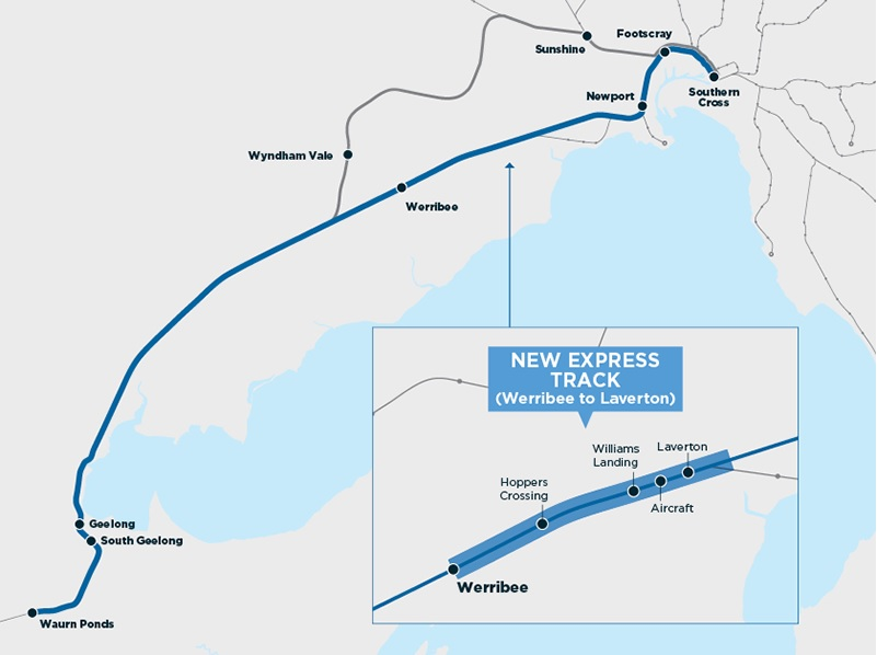 Map of Geelong Fast rail