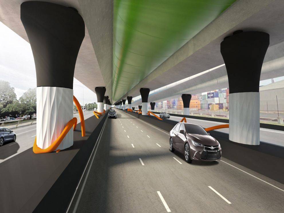 Artist impression of road beneath new elevated road
