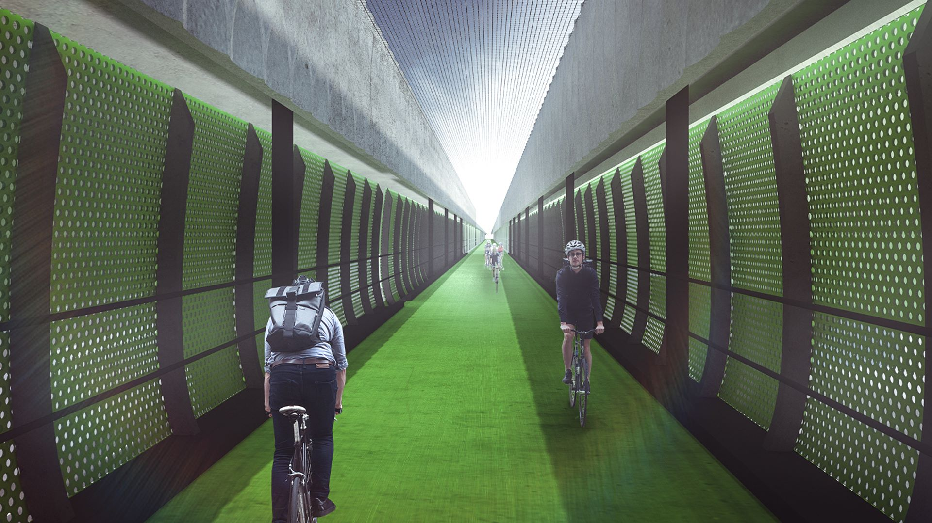 Artist's impression of cyclists using the veloway.