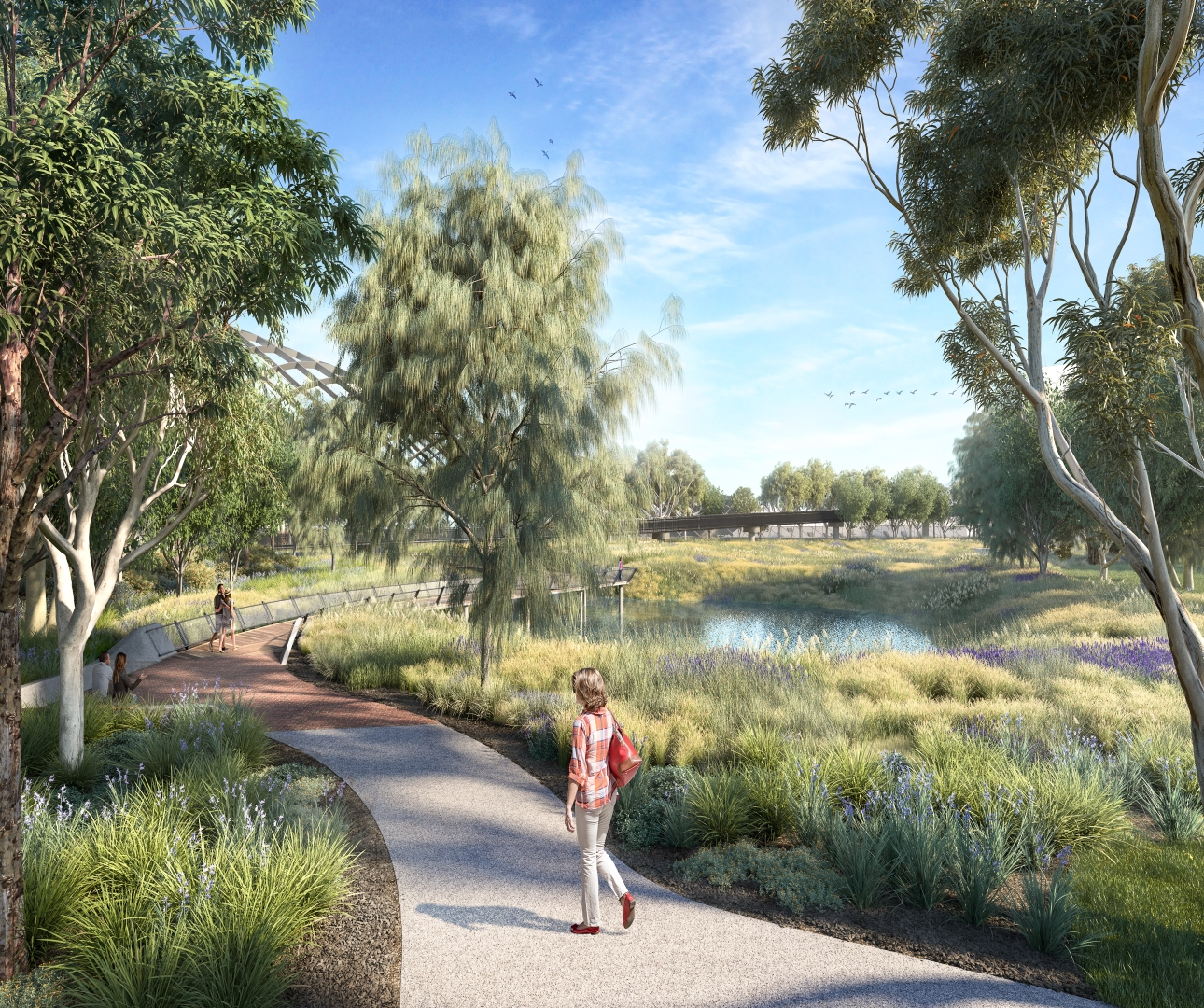 Artist impression of shared use path over Whitehall Street to the Maribyrnong River