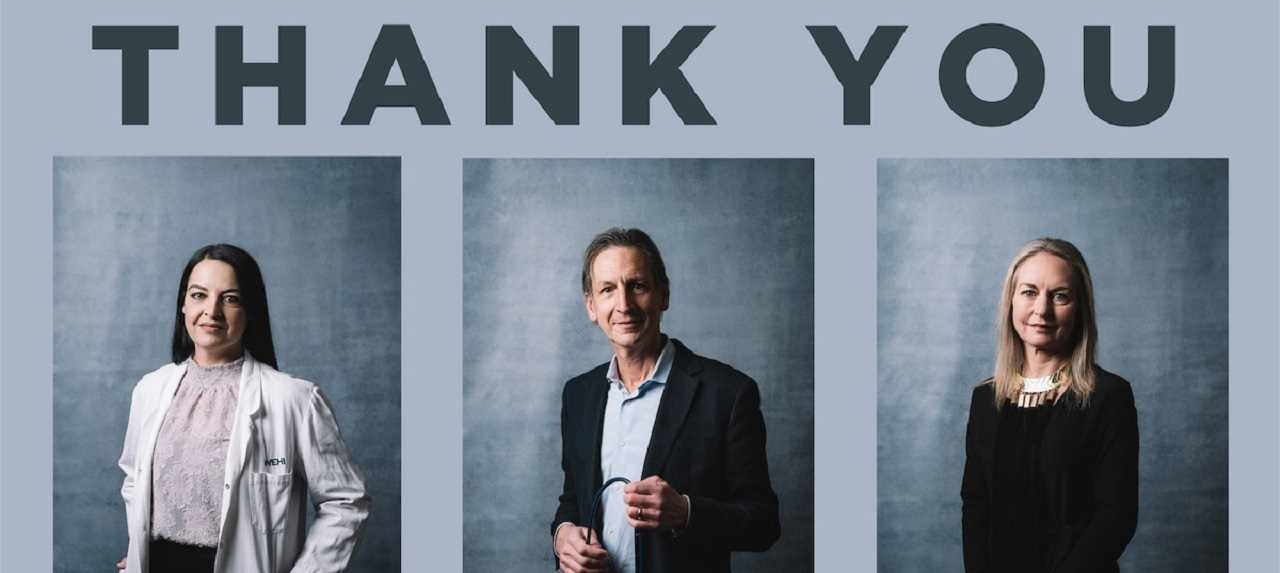 Three portaits side by side, a man in between two women. Pictured under a large heading that says Thank You.
