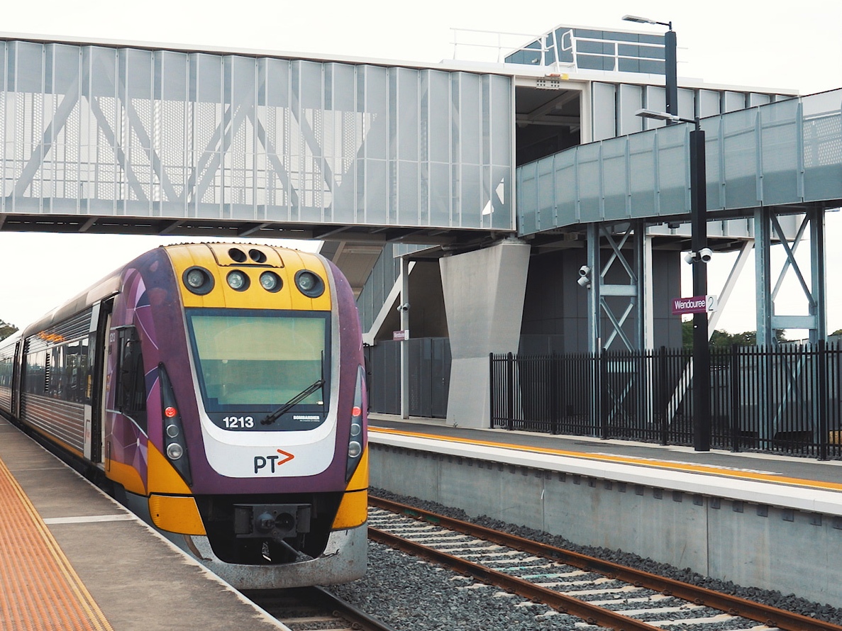 A Vlocity train at the completed upgraded station