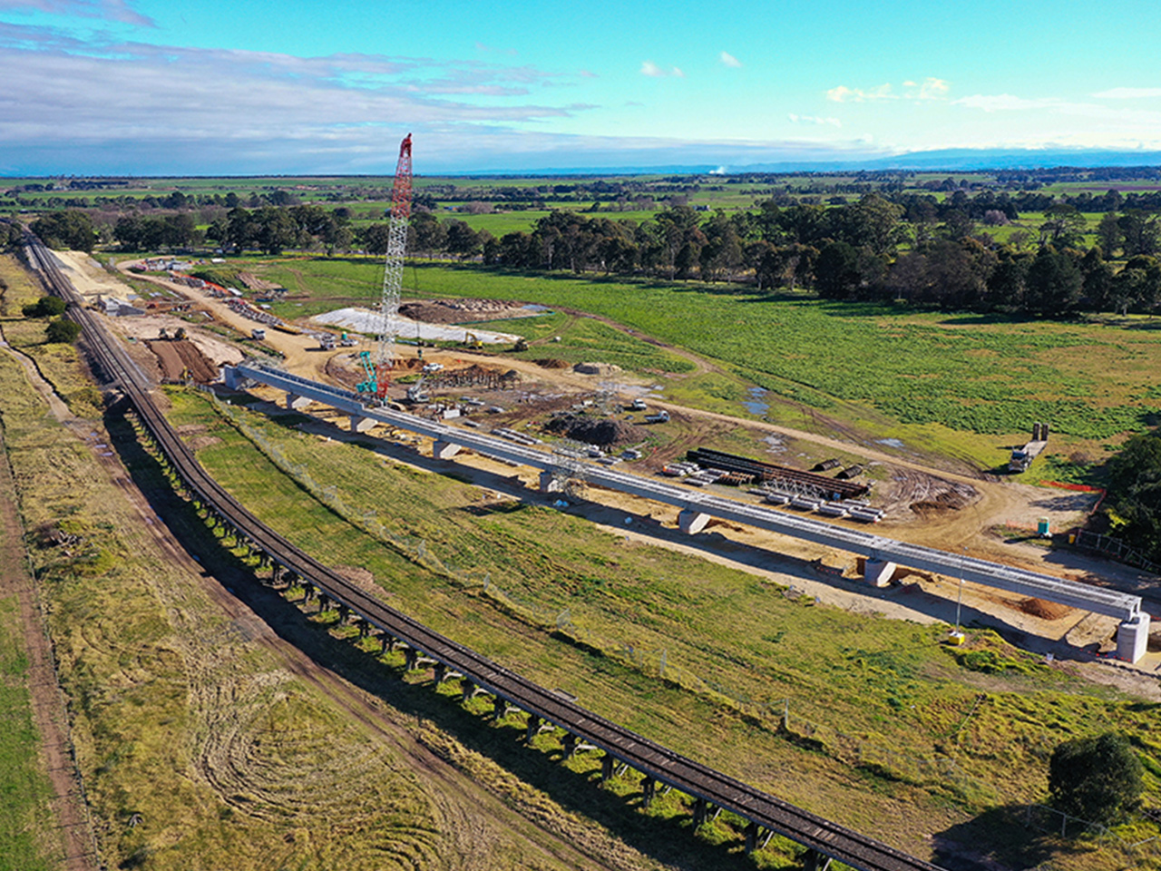 Aerial view of progress of the bridge half completed