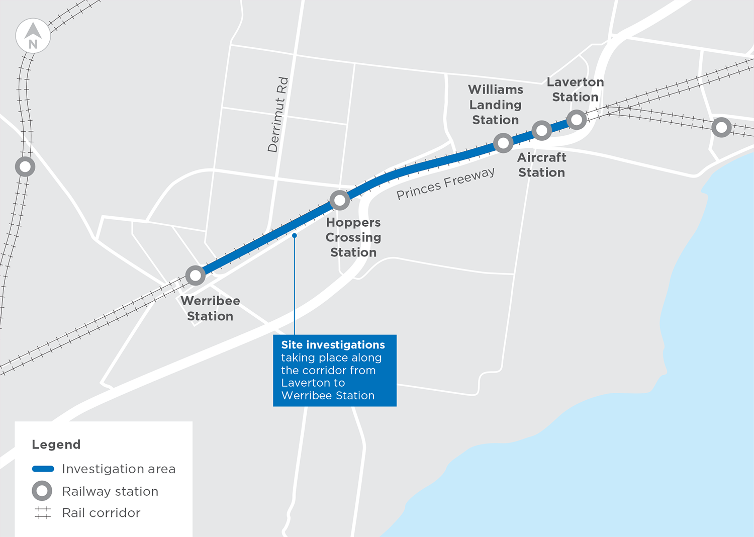 Map showing site investigaions are taking place along the Werrbee line between Werribee Station and Laverton Station