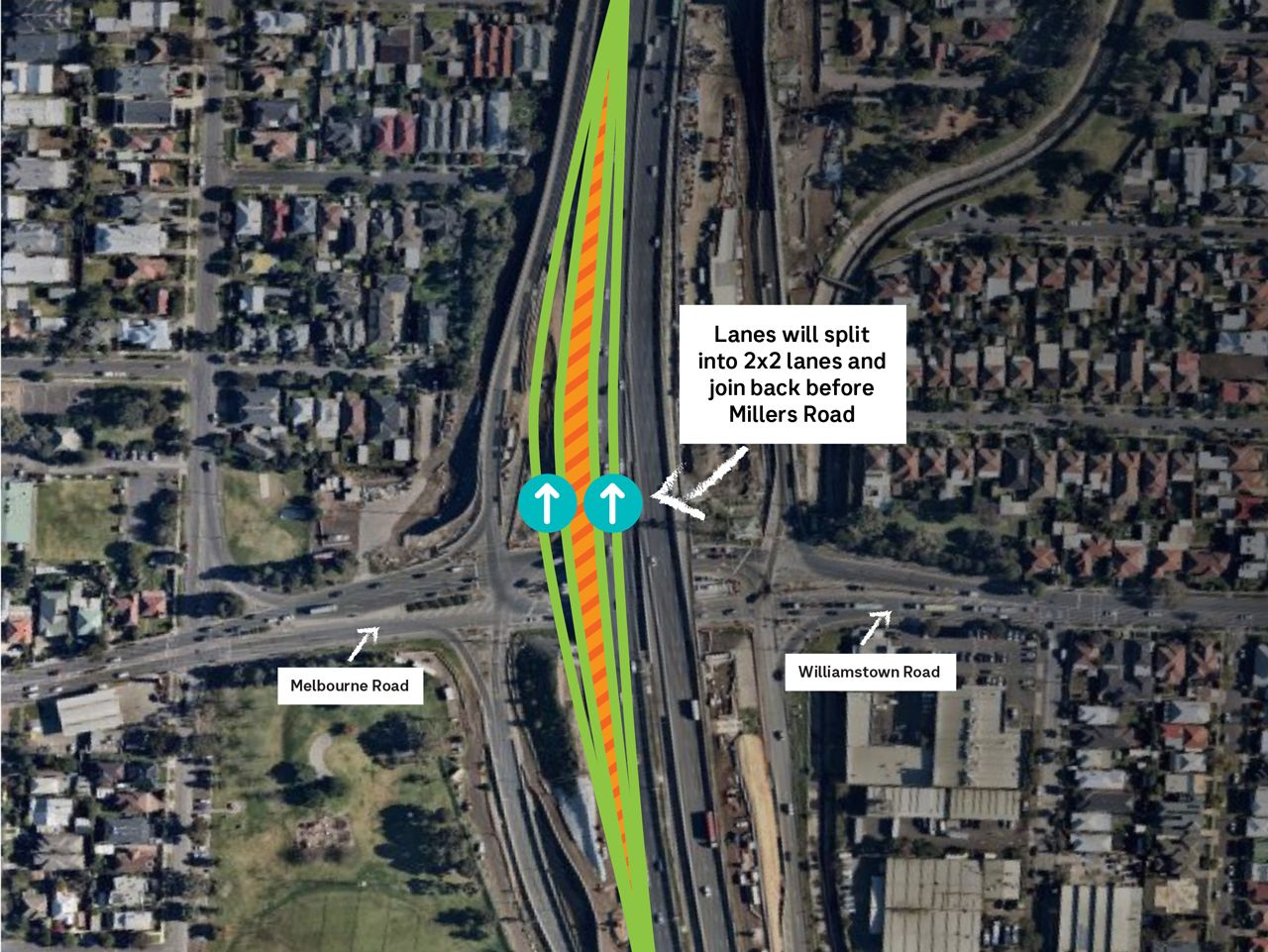 West Gate Freeway outbound lane changes between Williamstown and Millers Roads. Please refer to the text for more information.