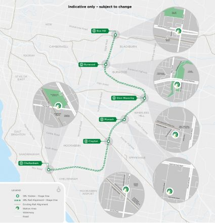 Map: Stage One Rail tunnel alignment and proposed underground stations