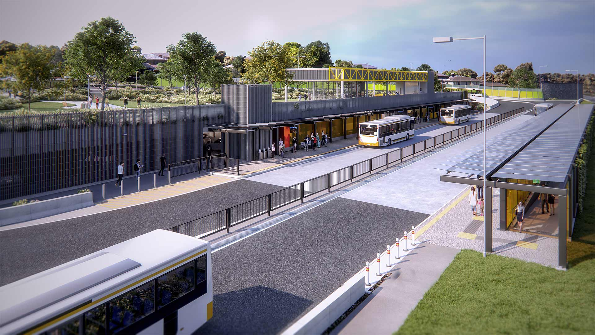 Artist impression that shows view above the Bulleen Park and Ride, showing buses on road and people in and around platforms and view of park in the top left.