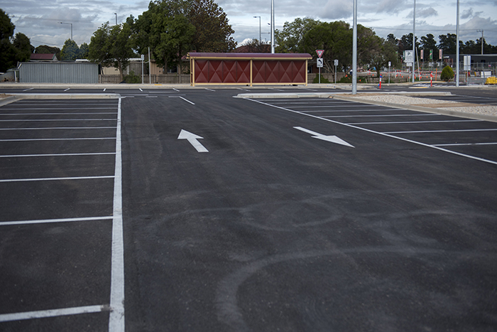 The completed new car park at Donnybrook Station with new bus shelters visible