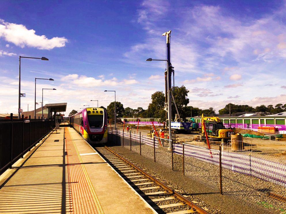 Piling works for the new station platform