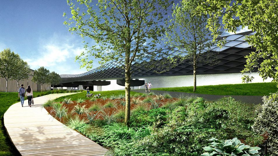 Artist impression of new shared user path and river promenade beneath the new Maribyrnong River Bridge.