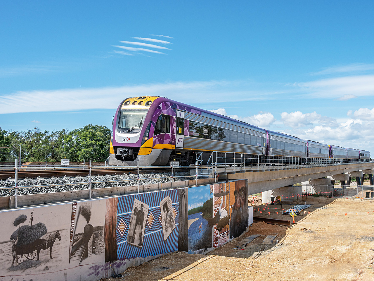 Vlocity train using the new bridge over the Avon River