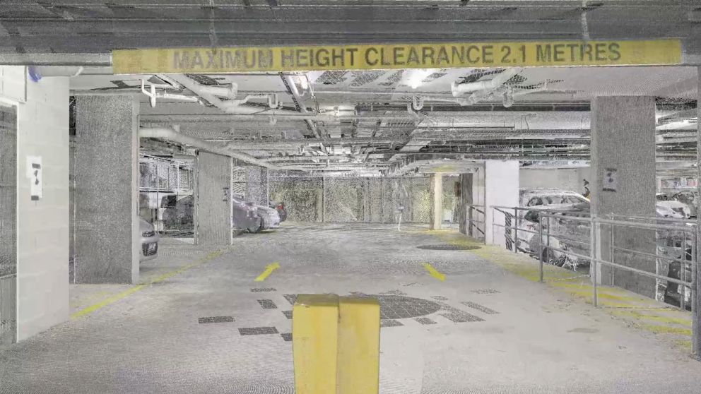 Scans of a car park basement in Box Hill using laser technology