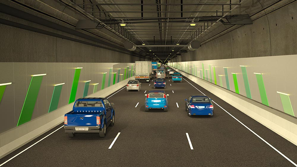Render inside tunnel entrance with vehicles