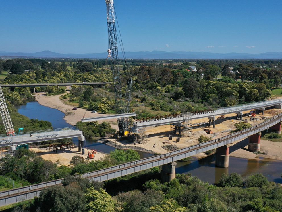 Aerial view of progress of the bridge almost completion